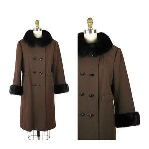 Brown Vintage Coat Fur Trimmed Winter 1960s